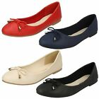 Ladies Leather Collection Flat Slip On Ballerina Dolly Shoes With Bow - F80275
