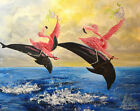 Pink Flamers by J.K. McGreens Flamingos Riding Dolphins Fantasy Canvas Art Print