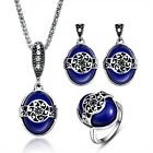 Women Silver Plated Oval Charm Bib Necklace Earrings Ring Vintage Jewelry Sets