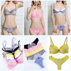 Women Lace 3/4 Cup Padded Push Up Bra Corset Striped + Bow Panty Briefs Lingerie
