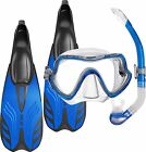 Snorkel Set Package - Silicone Mask, Fins Flippers and Snorkel - Blue