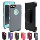 Premium Hybrid Rugged Impact Case W/Belt Clip Holster Cover for iPhone 6/6S Plus