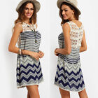 Women Summer Beach Dress Casual Sleeveless Lace Evening Party Short Mini Dress
