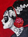 Franky's Bride by Melody Smith Tattooed Death Mask Frankenstein Canvas Art Print