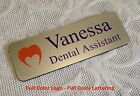 """Personalized Custom FULL COLOR Employee Name Tag 3""""x 1"""" Silver rounded corners"""