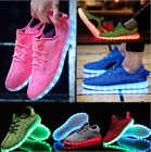Внешний вид - Unisex 7 LED Light Lace Up Luminous Shoes Sneaker Sportswear USB Rechargeable