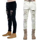 Men's Long Classic Holes Jeans Slim Casual Denim Pants Trousers Skinny Ripped