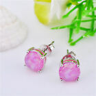 Classic 925 Silver Plated 7 Color Round Opal Stud Earrings Women/Girl's Jewelry