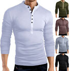 MEN'S FASHION BUTTON V-NECK LONG SLEEVE T-SHIRT SOLID SLIM FIT TOP TEE FABULOUS