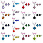 Sweet Candy Colors CZ Crystal Pendant Necklace Stud Earring Women Jewelry Sets image