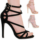 LADIES WOMENS HIGH HEEL ANKLE STRAPPY PEEP TOE PARTY FORMAL FASHION SANDAL SIZE