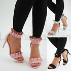 New Womens Stiletto High Heel Sandals Frill Ankle Strap Peep Toe Party Shoes