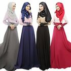 Lace Cuff Kaftan Abaya Muslim Islamic Long Sleeve Maxi Dress Arab Clothes