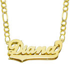 14K Yellow Gold Personalized Double Plate 3D Name Necklace - Style 4