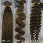 """New 18""""-32"""" Nail U-Tip Human Hair Extensions Straight Curly Wavy #8 Light Brown"""