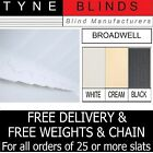 "SLATS FOR VERTICAL BLINDS - 89mm (3.5"") BROADWELL - WHITE BLACK CREAM FROM 99p"