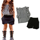 Toddler Kids Baby Girls Outfits Clothes Striped T-shirt Tops+Shorts Pants Sets