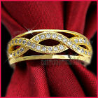9k Gold Gf Women Girls Solid Infinity Wedding Crystal Eternity Band Ring Gift
