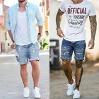 New Mens Casual short Jeans Distressed Pants Slim Fit Denim short Pants Trousers