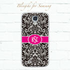 Personalized black damask flowers monogram case for Samsung Galaxy S8+ S7 -dm016