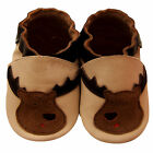 Free shipping Crib Prewalker Soft Sole Leather Baby Shoes Reindeer Beig 0-5years