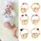Natural Wooden Crochet Baby Teether Teething Bracelet Ring Rattle Toy Non-Toxic