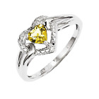925 Sterling Silver Whiskey Quartz and Diamond Floating Heart Ring - 0.383cttw