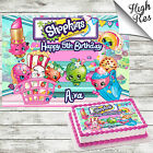 SHOPKINS RECTANGLE EDIBLE CAKE TOPPER DECORATION PERSONALISED