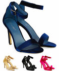 WOMENS LADIES STRAPPY STILETTO HIGH HEEL SANDLES ANKLE STRAP SHOES PEEP TOE SIZE