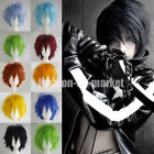Unisex Anime Fashion Short Layer Wig Cosplay Full Wigs Costume Party Black Pink