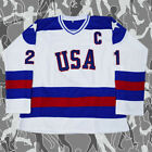 1980 Miracle On Ice Team Hockey Jersey White USA Mike Eruzione 21 New Sewn