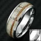 8mm Tungsten Men's Deer Antler Hawaiian Koa Wood Wedding Band Ring