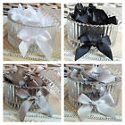 10 / 20 packs of Satin Ribbon pre-tied bows 3mm,7mm,15mm Grey Slate Black White