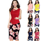 Women Summer Floral Patchwork Bodycon Casual Work Office Pencil Dress Elegant