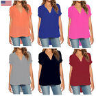 Womens Summer Holiday V Neck Tops T-shirt Casual Loose Tunic Blouse Concise Hot