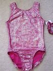 NWT GK Elite Magenta Pink Silver Dot Print Gymnastics Leotard Child & Adult Size