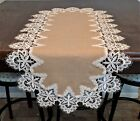 Table Runner, Doily, Mantel Scarf with Venetian Lace and Burlap Linen Fabric
