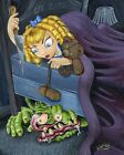 Lil Miss Roth by JR Linton Monster Under Child's Bed Artwork Canvas Art Print