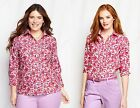 Lands' End Supima Cotton Pink Ikat Floral Shirt Button Down 3/4 Sleeves