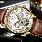 KINYUED Mens Tourbillon Automatic Watch Self-winding Skeleton Mechanical Leather