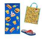 Kids Emoji Flip Flops Beach Towel & Emoticon Carry bag