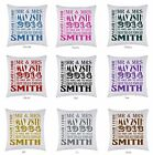 PERSONALISED PRINTED CUSHION COVER MR & MRS WEDDING GIFT FREE P&P