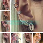 New Bohemia Women Retro Silver Ear Clip Stud Dangle Earrings Set Fashion Jewelry