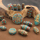 Tibetan Nepalese Turquoise Brass Metal Loose Spacer Handmade Beads DIY Jewelry