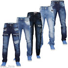Mens Regular Fit Denim Jeans Straight Leg Cargo Trousers Casual Pants All Sizes