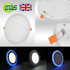 LED RECESSED FLUSH MOUNT BLUE EDGE LIT PANEL LIGHT ROUND/SQUARE DOWNLIGHT