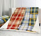 Soft Super Warm Fluffy Tartan Check Reversible Bed Throw Green Red 130cm X 150cm
