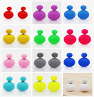 Fashion Ladies Candy Color Double Side Two Ball Earrings Stud Ear Pin Jewelry