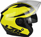 LZR JH1 Fluo Yellow - open face motorcycle helmet with internal sun visor