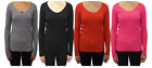 Womens Ladies V Neck Ribbed Top Jumper Long Sleeve Plain Pullover Top - KD002